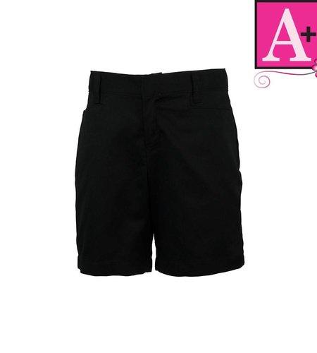 School Apparel A+ Black Plain Front Walk Shorts #7587