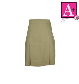 School Apparel A+ Khaki Gabardine 4-pleat Skirt #1034PS