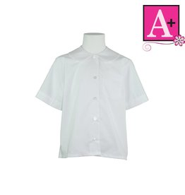 School Apparel A+ White Short Sleeve Peter Pan Blouse #9380