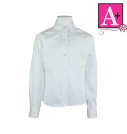School Apparel A+ White Long Sleeve Oxford Blouse #9587