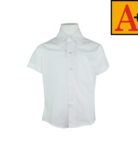 School Apparel A+ White Short Sleeve Broadcloth Shirt #8041