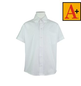 School Apparel A+ White Short Sleeve Pinpoint Oxford Shirt #8192