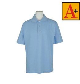 School Apparel A+ Light Blue Short Sleeve Pique Polo #8760