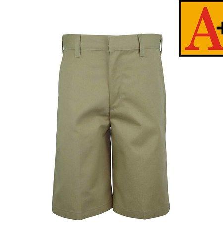 School Apparel A+ Khaki Plain Front Walk Shorts #7099