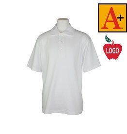 School Apparel A+ White Short Sleeve Interlock Polo #8432