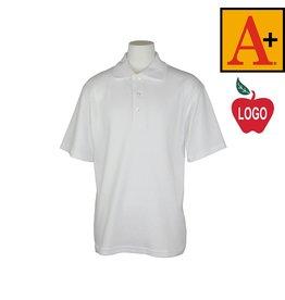 School Apparel A+ White Short Sleeve Interlock Polo #8432