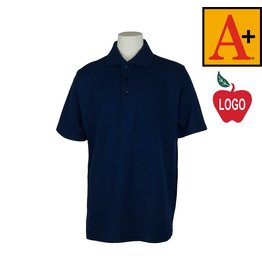 School Apparel A+ Youth XX-Small Navy Blue Short Sleeve Pique Polo #8760