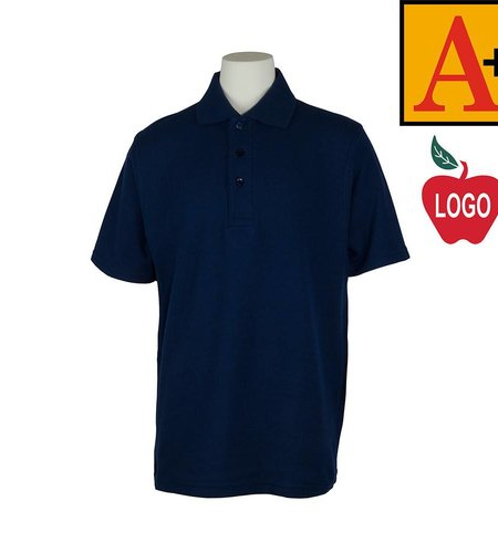 School Apparel A+ Size Youth XX-Small Navy Blue Short Sleeve Pique Polo #8760