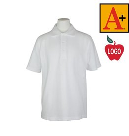 School Apparel A+ Youth XX-Small White Short Sleeve Pique Polo #8760