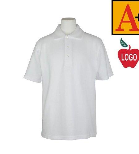 School Apparel A+  Youth XX-Small White Short Sleeve Pique Polo #8760