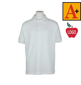 School Apparel A+ White Short Sleeve Pique Polo #8761