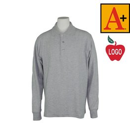 School Apparel A+ Ash Grey Long Sleeve Pique Polo #8766