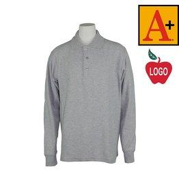 School Apparel A+ Adult Medium Ash Grey Long Sleeve Pique Polo #8766