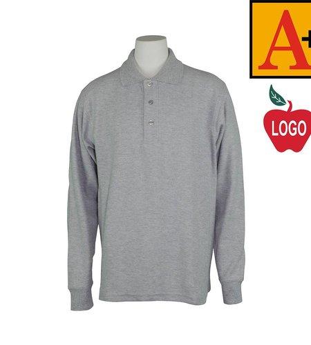 School Apparel A+ Ash Grey Long Sleeve Pique Polo #8766