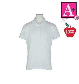 School Apparel A+ White Short Sleeve Interlock Polo #9605