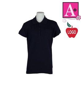 School Apparel A+ Dark Navy Blue Short Sleeve Pique Polo #9715