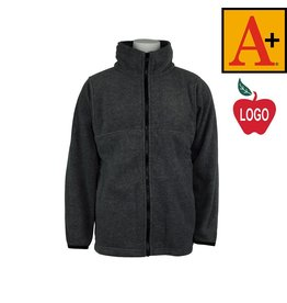 School Apparel A+ Adult Large Charcoal Grey Full Zip Fleece Jacket #6202