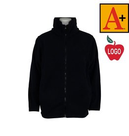 School Apparel A+ Youth Large Navy Blue Full Zip Fleece Jacket #6202