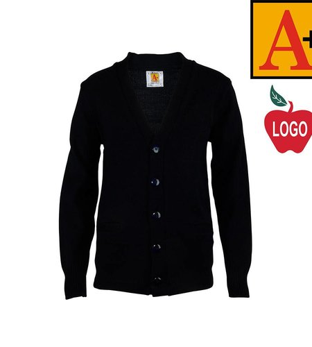 School Apparel A+ Navy Blue Cardigan Sweater #6300