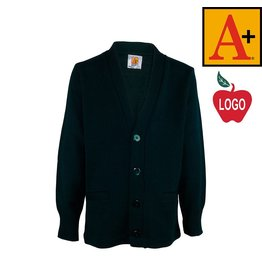 School Apparel A+ Green Cardigan Sweater #6300