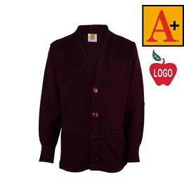 School Apparel A+ Wine Cardigan Sweater with Arched Logo #6300