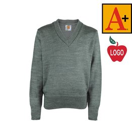 School Apparel A+ Heather Grey Pullover Sweater #6500