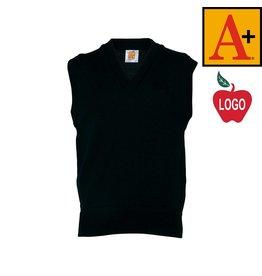 School Apparel A+ Adult Medium Green Sleeveless Sweater Vest #6600