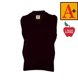 School Apparel A+ Wine Sweater Vest with Arched Logo #6600
