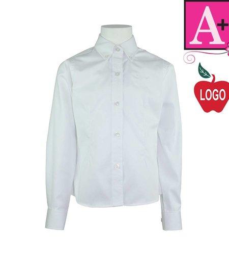 School Apparel A+ White Long Sleeve Oxford Blouse #9587