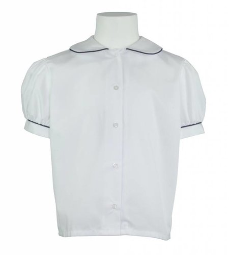 Elder White with Navy Blue Piping Peter Pan Blouse #5513
