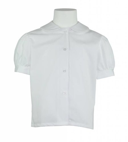 Elder White with White Piping Short Sleeve Peter Pan Blouse #5513
