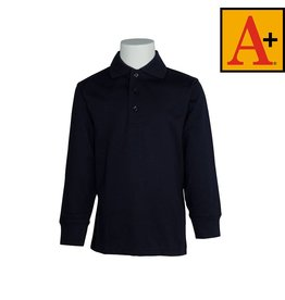 School Apparel A+ Dark Navy Blue Long Sleeve Jersey Polo #8326
