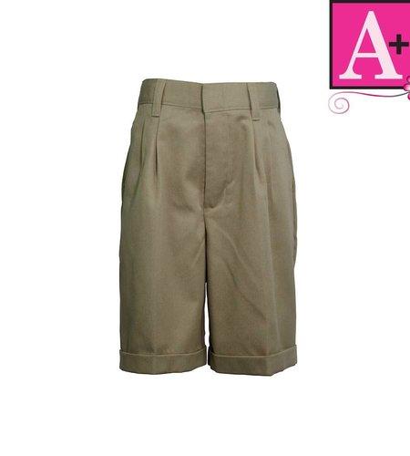 School Apparel A+ Khaki Pleated Walk Shorts #7308