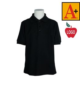 School Apparel A+ Black Short Sleeve Pique Polo #8761