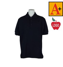 School Apparel A+ Dark Navy Blue Short Sleeve Pique Polo #8761