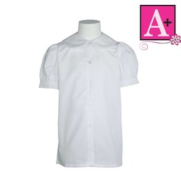 School Apparel A+ White Short Sleeve Peter Pan Blouse #9361