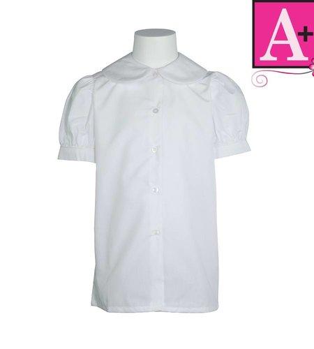 School Apparel A+ White Short Sleeve Peter Pan Blouse #9361