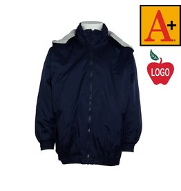 School Apparel A+ Youth Small Navy Blue Hooded Nylon Jacket #6225