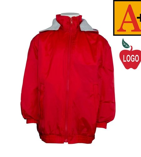 School Apparel A+ Red Hooded Nylon Jacket #6225