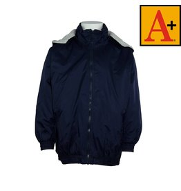 School Apparel A+ Navy Blue Nylon Hooded Jacket #6225
