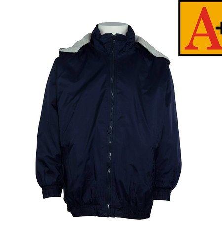 School Apparel A+ Navy Blue Nylon Hooded Jacket #6225