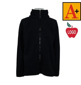 School Apparel A+ Black Full Zip Fleece Jacket #6202