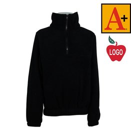 School Apparel A+ Adult Large Black Half Zip Fleece Jacket #6235