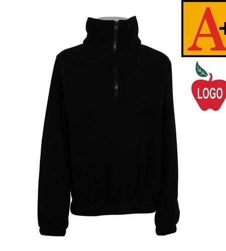 School Apparel A+ Adult Large Black Half Zip Fleece Jacket #6235