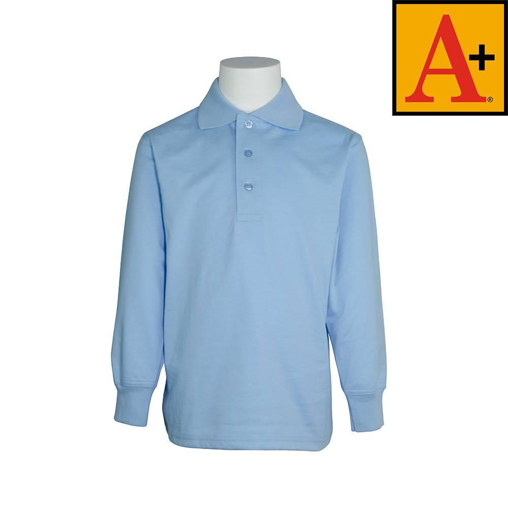 9729bca835d Light Blue Long Sleeve Jersey Polo #8326 - Merry Mart Uniforms