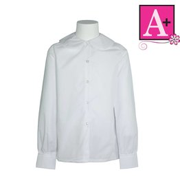 School Apparel A+ White Long Sleeve Peter Pan Blouse #9366