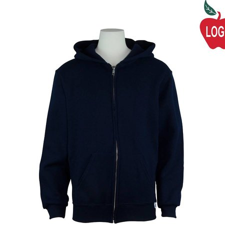 Russell Navy Blue Zip Hooded Sweatshirt #997 - Youth Medium