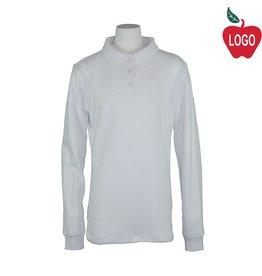 Elder White Long Sleeve Interlock Polo #7671