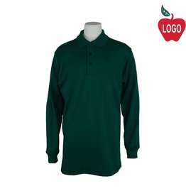 Elder Size Youth Small Green Long Sleeve Interlock Polo #5671