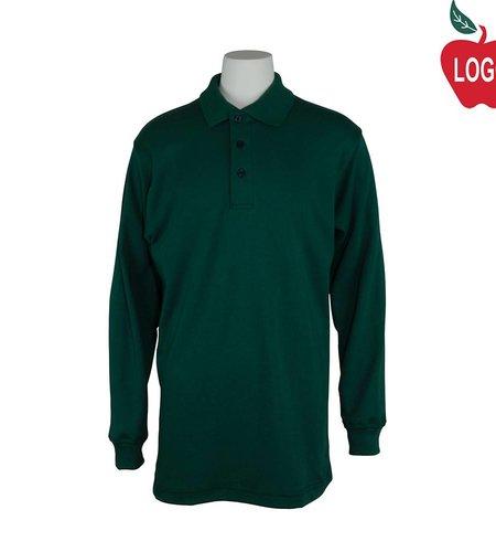 Elder Size Youth Small Green Long Sleeve Interlock Polo #5671